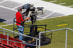 Oct 8, 2011; Stanford CA, USA;  A television cameraman on the field before the game between the Stanford Cardinal and the Colorado Buffaloes at Stanford Stadium.  Stanford defeated Colorado 48-7. Mandatory Credit: Jason O. Watson-US PRESSWIRE