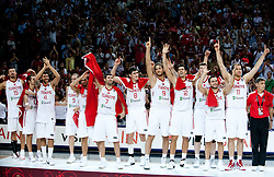Players of Turkey celebrate after they  lost during the finals basketball match between National teams of Turkey and USA at 2010 FIBA World Championships on September 12, 2010 at the Sinan Erdem Dome in Istanbul, Turkey.  USA defeated Turkey 81 - 64 and became World Champion 2010. (Photo By Vid Ponikvar / Sportida.com)