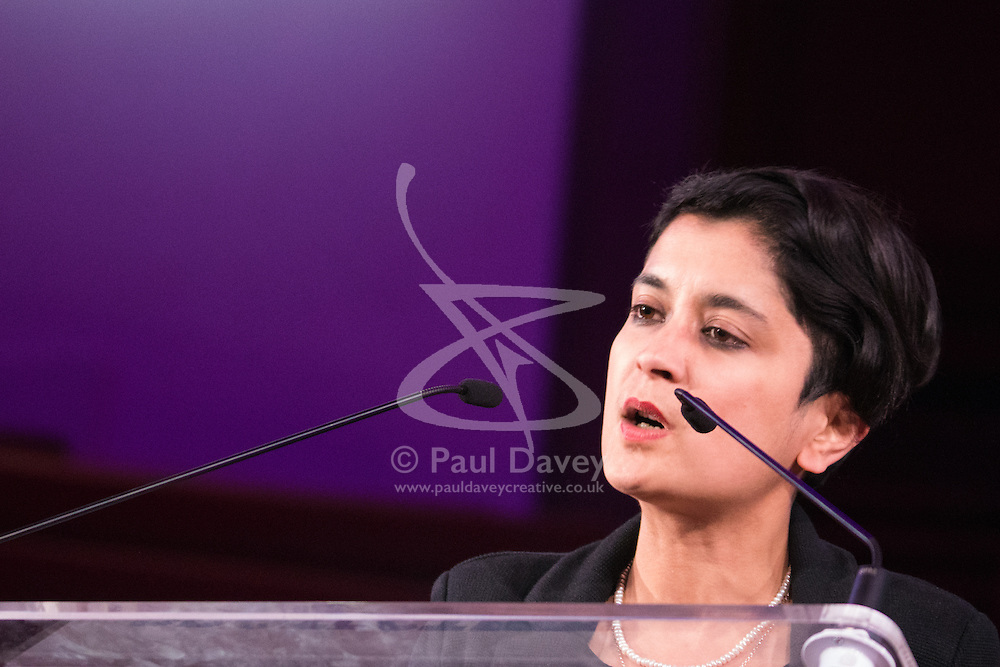 Westminster Central Hall, London, November 2nd 2015. Shami chakrabarti of human rights watchdog Liberty addresses the packed Westminster Central Hall.