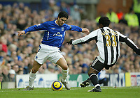 Photo: Aidan Ellis.<br /> Everton v Newcastle. The Barclays Premiership.<br /> 27/11/2005.<br /> Everton's Mikkael Arteta takes on Newcastle's Celestine Babayaro