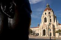 Sculpture of Jackie Robinson Looking at Pasadena City Hall, Pasadena, California