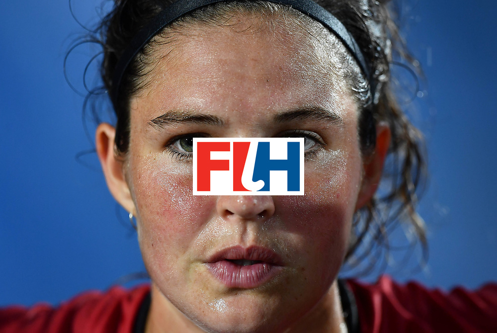 BRUSSELS, BELGIUM - JUNE 27: A disappointed Anouk Raes of Belgium after the FINTRO Women's Hockey World League Semi-Final Pool B game between Belgium and Spain on June 27, 2017 in Brussels, Belgium. (Photo by Charles McQuillan/Getty Images for FIH)