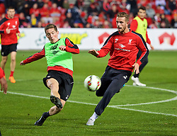 ADELAIDE, AUSTRALIA - Sunday, July 19, 2015: Liverpool's Harry Wilson and captain Jordan Henderson during a training session at Coopers Stadium ahead of a preseason friendly match against Adelaide United on day seven of the club's preseason tour. (Pic by David Rawcliffe/Propaganda)