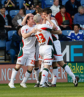 Photo: Steve Bond/Richard Lane Photography. Leicester City v Carlisle United. Coca Cola League One. 04/04/2009. Scott Dobie (R) is congratulated