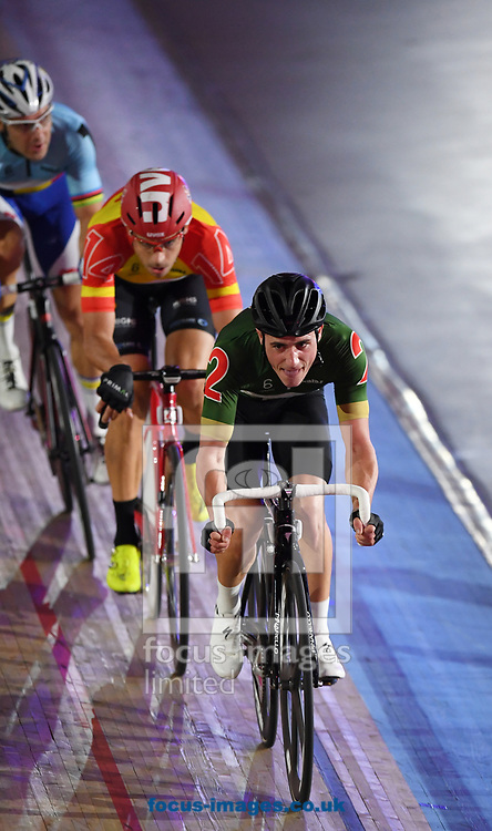 Peter Kennaugh leads the field in the Madison Chase on day four of the Six Day cycling series at Lee Valley VeloPark, London, UK<br /> Picture by Simon Dael/Focus Images Ltd 07866 555979<br /> 27/10/2017