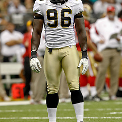 August 12, 2011; New Orleans, LA, USA; New Orleans Saints defensive end Alex Brown (96) during the first half of a preseason game against the San Francisco 49ers at the Louisiana Superdome. Mandatory Credit: Derick E. Hingle