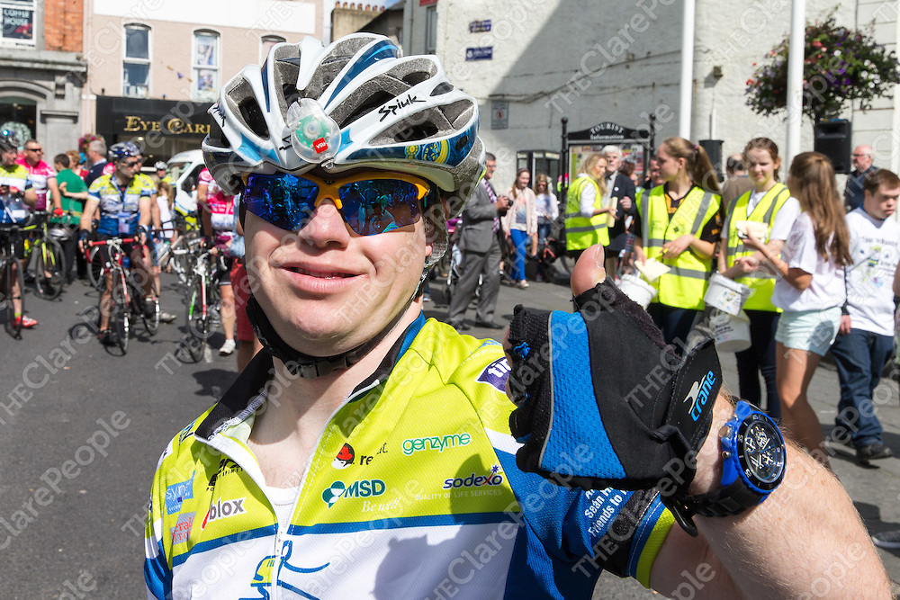 Conrad McCullough celebrating arriving into Ennis at the Tour De Munster on Friday
