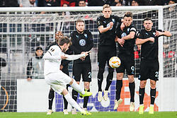 December 13, 2018 - Istanbul, Turkey - 181213 Dorukhan TokÅ¡z of Besiktas with a free kick while Fouad Bachiroum Lasse Nielsen, Markus Rosenberg and Marcus Antonsson of MalmÅ¡ FF defends during the Europa league match between Besiktas and MalmÅ¡ FF on December 13, 2018 in Istanbul..Photo: Petter Arvidson / BILDBYRN / kod PA / 92175 (Credit Image: © Petter Arvidson/Bildbyran via ZUMA Press)