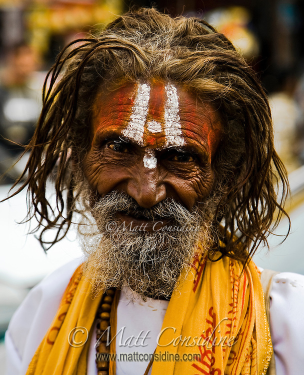 This friendly Sadhu has a characterful face.<br /> (Photo by Matt Considine - Images of Asia Collection)