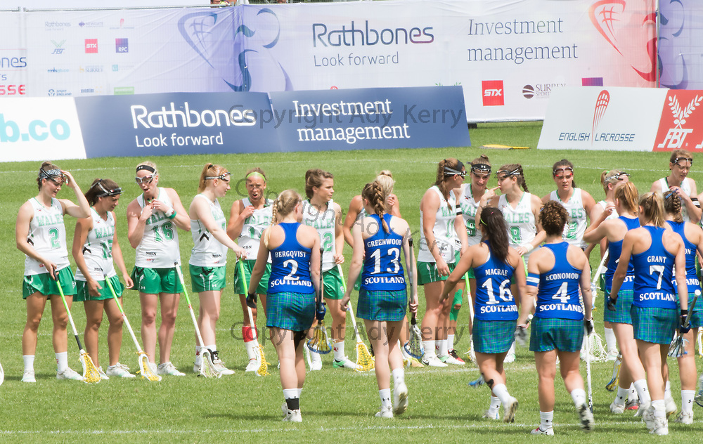 End of game at the 2017 FIL Rathbones Women's Lacrosse World Cup at Surrey Sports Park, Guilford, Surrey, UK, 15th July 2017