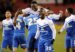 Peterborough United's Aaron McLean celebrates the win at full-time - Photo mandatory by-line: Joe Dent/JMP - Mobile: 07966 386802 - 03/03/2015 - SPORT - Football - Sheffield - Bramall Lane - Sheffield United v Peterborough United - Sky Bet League One