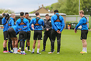 Forest Green Rovers assistant manager, Scott Lindsey goes through some routines with some of the players during the Forest Green Rovers Press Conference and Training session at the New Lawn, Forest Green, United Kingdom on 12 May 2017. Photo by Shane Healey.