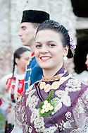 Brodsko kolo, Slavonski Brod, Croatia (9 June 2013). Young woman from Cajkovci in traditional folk costume. The Brodsko kolo, now in its 49th year, is the oldest folk dancing festival in Croatia.