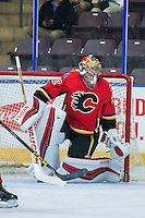 PENTICTON, CANADA - SEPTEMBER 16: John Gillies #32 of Calgary Flames defends the net against the Winnipeg Jets on September 16, 2016 at the South Okanagan Event Centre in Penticton, British Columbia, Canada.  (Photo by Marissa Baecker/Shoot the Breeze)  *** Local Caption *** John Gillies;