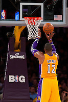 30 October 2012: Center (12) Dwight Howard of the Los Angeles Lakers shoots a free-throw against the Dallas Mavericks during the first half of the Mavericks 99-91 victory over the Lakers at the STAPLES Center in Los Angeles, CA.