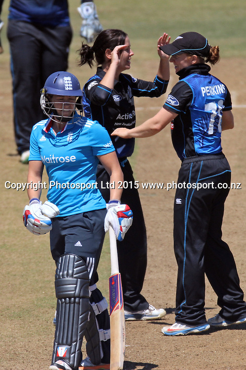Heather Knight is caught and bowled by Erin Bermingham. New Zealand White Ferns v England - 3rd ODI at Bay Oval, Mount Maunganui, New Zealand. 15 February 2015. Photo credit: Margot Butcher/www.photosport.co.nz