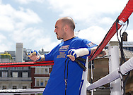 Kevin Mitchell relaxes during a public workout in Covent Garden, London<br /> Picture by Alan Stanford/Focus Images Ltd +44 7915 056117<br /> 26/05/2015