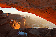 Mesa Arch in Canyonlands National Park at sunrise in winter