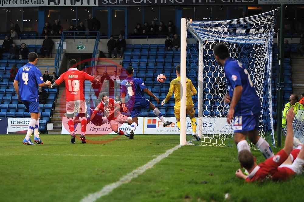 Bristol City's Greg Cunningham scores a goal. - Photo mandatory by-line: Dougie Allward/JMP - Mobile: 07966 386802 - 08/11/2014 - SPORT - Football - Gillingham - Priestfield Stadium - Gillingham v Bristol City - FA Cup - Round One