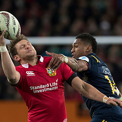 Waisake Naholo and Owen Farrell, during game 4 of the British and Irish Lions 2017 Tour of New Zealand,The match between  Highlanders and British and Irish Lions, Forsyth Barr Stadium, Dunedin, Tuesday 13th June 2017<br /> (Photo by Kevin Booth Steve Haag Sports)<br /> <br /> Images for social media must have consent from Steve Haag