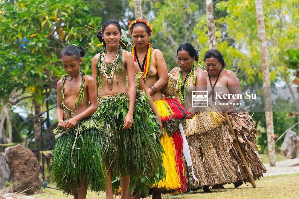 Yapese girls wearing different styles of grass skirts at Yap Day Festival, Yap Island, Federated States of Micronesia
