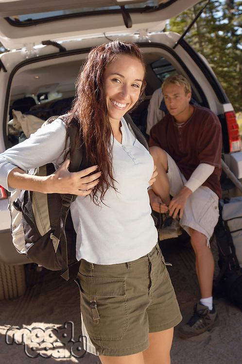 Hikers at Car