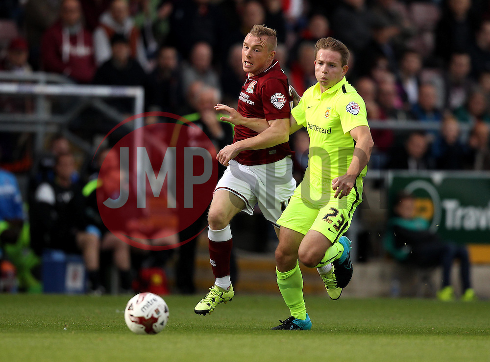 Nicky Adams of Northampton Town gets past Connor Smith of Hartlepool United - Mandatory byline: Robbie Stephenson/JMP - 07966 386802 - 10/10/2015 - FOOTBALL - Sixfields Stadium - Northampton, England - Northampton Town v Hartlepool - Sky Bet League Two