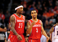 Feb. 9, 2012; Phoenix, AZ, USA; Houston Rockets center Jordan Hill (27) and teammate guard Courtney Lee (5) talk on the court while playing against the Phoenix Suns during the first half at the US Airways Center. Mandatory Credit: Jennifer Stewart-US PRESSWIRE.