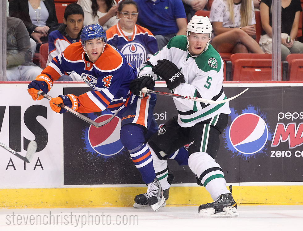 September 27, 2013: The Edmonton Oilers play the Dallas Stars in the NHL Showcase preseason game at the Cox Convention Center in Oklahoma City.