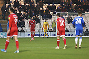 Glenn Morris and Tom Dallison during the EFL Sky Bet League 2 match between Colchester United and Crawley Town at the JobServe Community Stadium, Colchester, England on 1 January 2020.