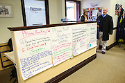 Campaign staff members talk next to the Super Tuesday vision board posted on a counter in the Bernie Sanders campaign office in Burlington, Vermont, Wednesday, March 2, 2016.  CREDIT: Cheryl Senter for The New York Times