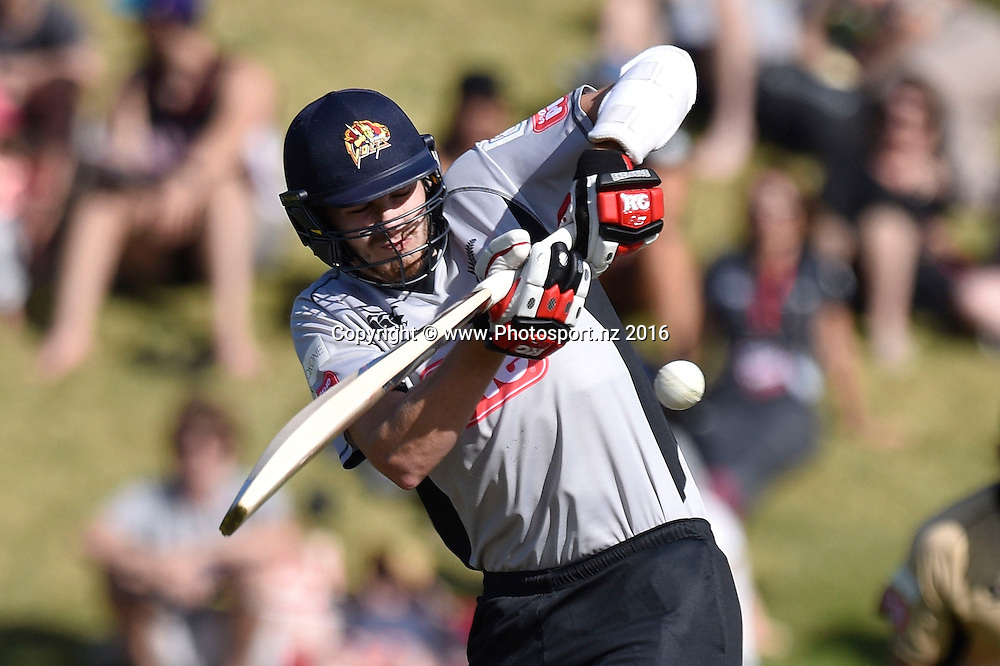 Jacob Duffy of the South Island plays a shot during the North Island vs South Island cricket match at the Basin Reserve in Wellington on Sunday the 28th of February 2016. Copyright Photo by Marty Melville / www.Photosport.nz