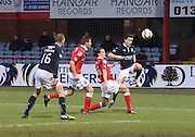 Dundee new boy fAlex Harris shoots for goal - Dundee v Ross County, SPFL Premiership at Dens Park<br /> <br />  - &copy; David Young - www.davidyoungphoto.co.uk - email: davidyoungphoto@gmail.com