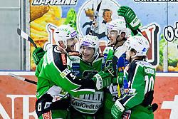 Team HDD Tilia Olimpija celebrate during ice-hockey match between HDD Tilia Olimpija and EHC Liwest Black Wings Linz in 51st Round of EBEL league, on Februar 5, 2012 at Hala Tivoli, Ljubljana, Slovenia. (Photo By Matic Klansek Velej / Sportida)