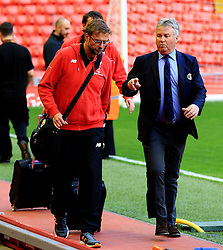 Liverpool Manager, Jurgen Klopp and Chelsea Manager, Guud Hiddink arrive at Anfield together - Mandatory byline: Matt McNulty/JMP - 11/05/2016 - FOOTBALL - Anfield - Liverpool, England - Liverpool v Chelsea - Barclays Premier League