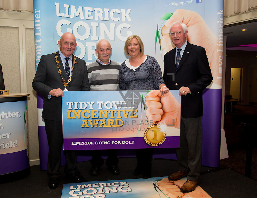 11.10.2016         <br /> The West of Limerick is awake and celebrating after Glin was announced as overall winner of Limerick Going for Gold 2016.<br /> Mayor of Limerick Cllr. Kieran O'Hanlon and Gerry Boland, JP McManus Foundation present the overall most improved score in Tidy Towns 2016 Tidy Towns Incentive Awards to Rockhill Tidy Towns Group. Picture: Alan Place