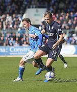 Dundee's Greg Stewart hold off St Johnstone's Chris Millar - St Johnstone v Dundee, SPFL Premiership at McDiarmid Park<br /> <br />  - &copy; David Young - www.davidyoungphoto.co.uk - email: davidyoungphoto@gmail.com