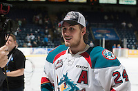 KELOWNA, CANADA - MAY 13: Tyson Baillie #24 of Kelowna Rockets stands on the ice for an interview after winning the WHL Championship on May 13, 2015 during game 4 of the WHL final series at Prospera Place in Kelowna, British Columbia, Canada.  (Photo by Marissa Baecker/Shoot the Breeze)  *** Local Caption *** Tyson Baillie;