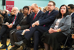 © Licensed to London News Pictures . 22/03/2018. Manchester, UK. JEREMY CORBYN , DIANE ABBOTT , JOHN HEALEY , ANDREW GWYNNE . Jeremy Corbyn and Shadow Cabinet members launch the Labour Party's local election campaign at Stretford Sports Village in Trafford . Photo credit: Joel Goodman/LNP