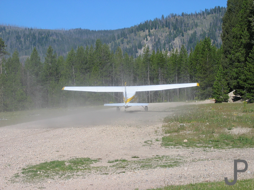 Airplane taxiing for takeoff at Sulphur Creek Ranch in central Idaho