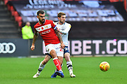 Marlon Pack (21) of Bristol City under pressure from Tom Barkhuizen (29) of Preston North End during the EFL Sky Bet Championship match between Bristol City and Preston North End at Ashton Gate, Bristol, England on 10 November 2018.