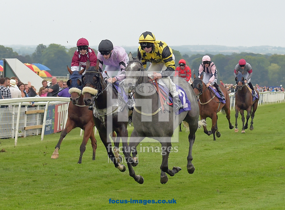 Sandra's Secret ridden by Natthan Evans (yellow with black stars and hoop sleeves) wins totepoolliveinfo.com Handicap stakes during the Totepool Beverley Bullet Day at Beverley Racecourse, Yorkshire.<br /> Picture by Martin Lynch/Focus Images Ltd 07501333150<br /> 27/08/2016