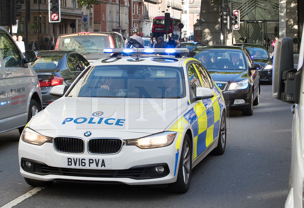 © Licensed to London News Pictures. 12/09/2017. London, UK. A West Midlands police convoy arrives at Westminster Magistrates Court thought to be carrying three men charged with being members of the banned far right group National Action. The three men - two of whom are soldiers, are: Alexander Deakin, Mikko Vehvilainen and Mark Barrett. They are also charged with various counts under terror legislation and public order offences. London, UK. Photo credit: Peter Macdiarmid/LNP