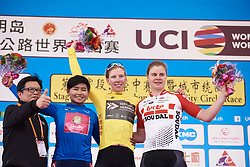 Top three in the final general classification: Lorena Wiebes (NED), Jutatip Maneephan (THA) and Lotte Kopecky (BEL) at Tour of Chongming Island 2019 - Stage 3, a 118.4 km road race on Chongming Island, China on May 11, 2019. Photo by Sean Robinson/velofocus.com