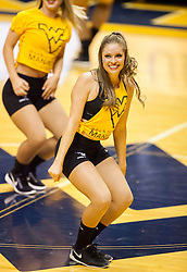 Jan 20, 2016; Morgantown, WV, USA; A West Virginia Mountaineers dancer performs during a timeout during the first half against the Texas Longhorns at the WVU Coliseum. Mandatory Credit: Ben Queen-USA TODAY Sports
