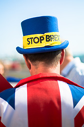 """@Licensed to London News Pictures 21/09/2019. Brighton, UK. The """"Stop Brexit"""" man Mr Steve Bray the political activist from Port Talbot in Wales demonstrates outside the Labour Party Conference in Brighton. The conference is due to finish on wednesday the 25th of September. Photo credit: Manu Palomeque/LNP"""
