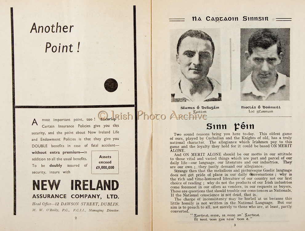 All Ireland Senior Hurling Championship Final,.Programme,.04.09.1955, 09.04.1955, 4th September 1955,.Galway 2-8, Wexford 3-13,.Minor Galway v Tipperary, .Senior Galway v Wexford,.Croke Park,..Advertisements, New Ireland Assurance Company Ltd, Another Point!,..Articles, Sinn Fein,