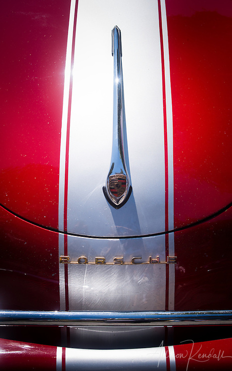 Detail of a vintage Porsche, seen at the Carmel-by-the-Sea Concours on the Avenue event during Monterey Car Week