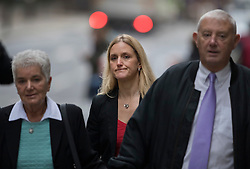 © Licensed to London News Pictures. 23/11/2016. London, UK. Family of murdered MP arrive at the Old Bailey. Jo Cox's parents Gordon (R) and Jean Leadbeater, walk with Jo's sister Kim (C). Defendant Thomas Mair chose not to give any evidence in his defence.  Mair allegedly shot and stabbed the 41-year-old Member of Parliament outside her constituency surgery in Birstall, near Leeds, Yorkshire on June 16 this year. Photo credit: Peter Macdiarmid/LNP