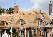 A thatcher completing the re-thatching of a traditional country pub, the Sorrel Horse, Shottisham, Suffolk, England